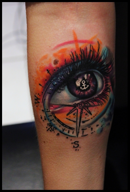 Anker-Tattoo: Anker Auge
