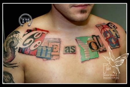 Erpresserbrief, Tattoo tätowiert von Julia Tempel