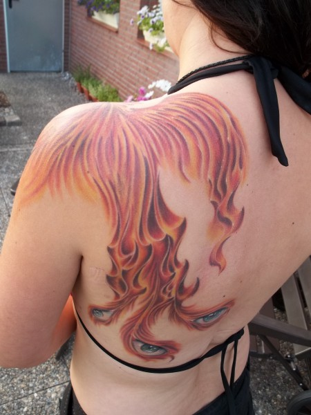 flammen-Tattoo: Phoenix