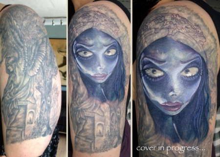 Engel-Tattoo: Cover - Teil des Sleeves - Emily Teil2