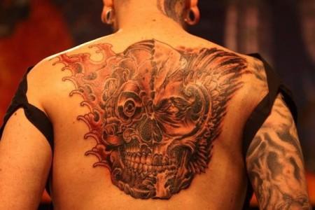 oldschool-Tattoo: multiskull