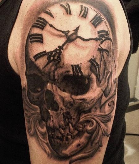 uhren-Tattoo: Timeskull