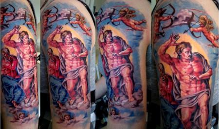 """Michelangelo """"das jüngste Gericht"""" ein Ausschnitt"""