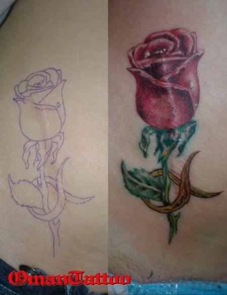stier-Tattoo: Rose