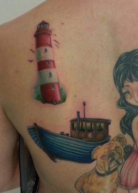 Rücken Boot & Leuchtturm