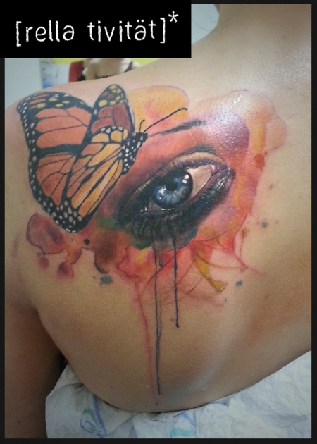 Schmetterling-Tattoo: Schmetterling, Auge, Aquarell