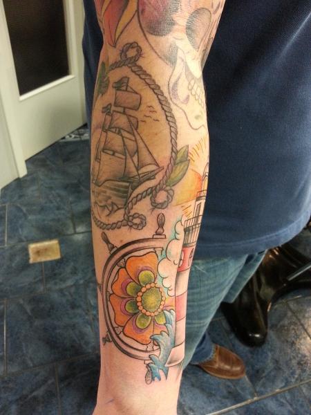 Schutzminister leuchtturm und steuerrad 1 tattoos von tattoo - Tattoo leuchtturm ...