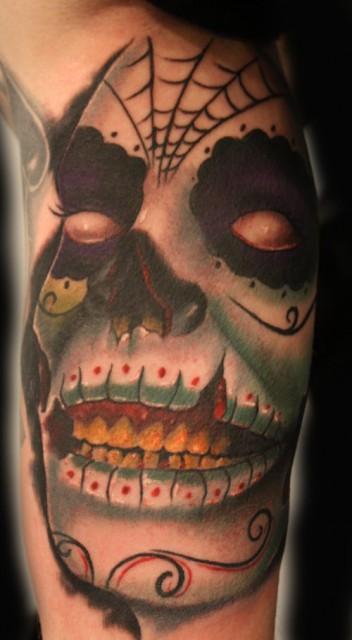 Zombie Face im dia de los muertos Style