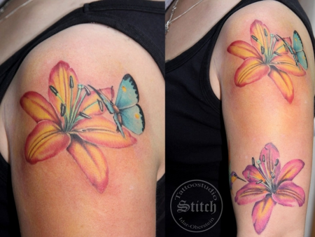 Schmetterling mit Lilie