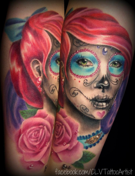 schleife-Tattoo: chica muerta