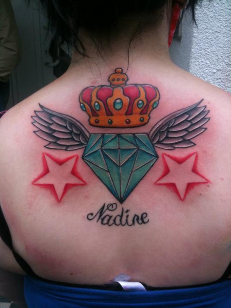 Diamant mit Flügel, Krone, Sterne und Name meiner Schwester