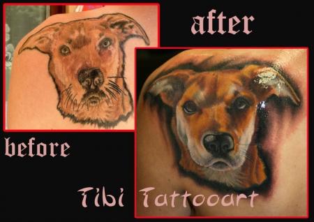 Hunde-Porträt Cover up - tätowiert von Tibi