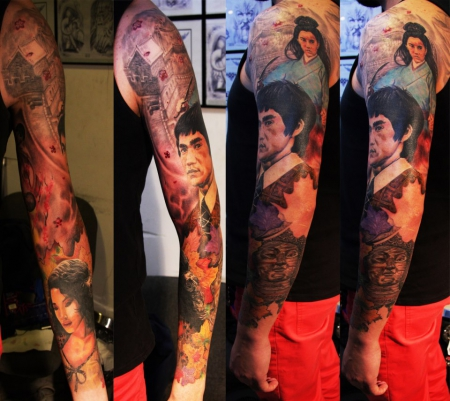 "Godfathers Tattoo Nürnberg  ""Bruce Lee Sleeve"" by NIKI MM"