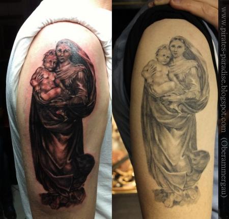 madonna-Tattoo: Frisch und Abgeheilt
