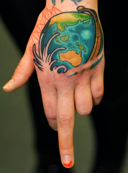 Hand Australien Weltkugel