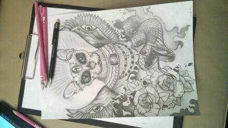 Bleistiftzeichnung Sphynx