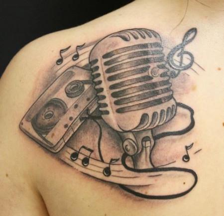 musik, kasette, mikrofon