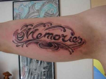snootsch memories schriftzug tattoos von tattoo. Black Bedroom Furniture Sets. Home Design Ideas