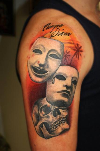 carpe diem-Tattoo: skull and masks