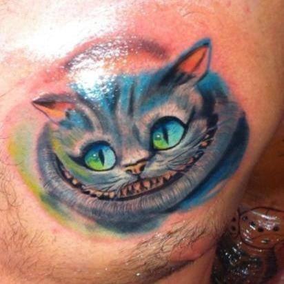 grinsekatze-Tattoo: Grinsekatze
