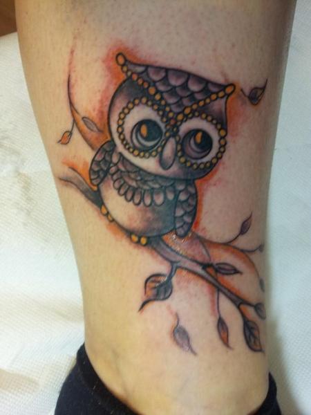 puma04141 eule in gedanken an meiner oma tattoos von. Black Bedroom Furniture Sets. Home Design Ideas