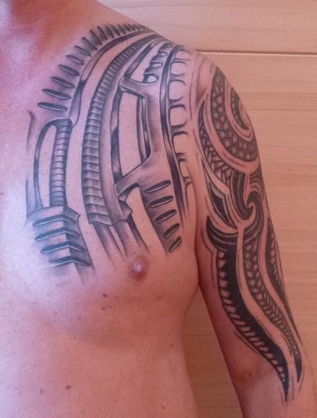 free biker jetzt noch mal ein gesamtbild im abgeheilten zustand wobei das tattoo auf der brust. Black Bedroom Furniture Sets. Home Design Ideas