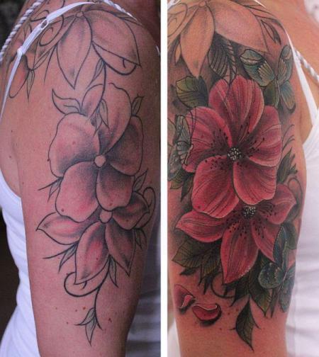 Blumenranke, Korrektur/Ausbesserung von vorhandenem Tattoo