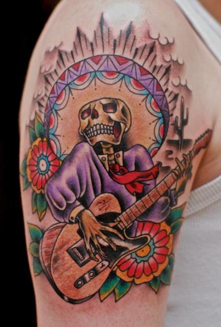 totenkopf mit gitarre tattoos von tattoo. Black Bedroom Furniture Sets. Home Design Ideas