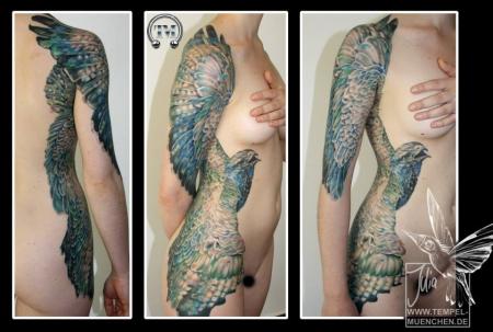 Vogel, malerischer Stil, hälfte vom Oberkörper