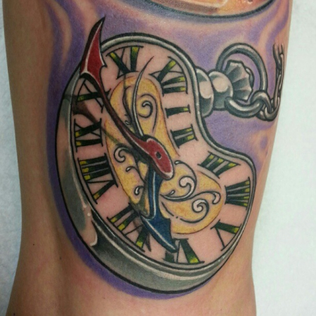 eviltom surrealistische taschenuhr tattoos von tattoo. Black Bedroom Furniture Sets. Home Design Ideas