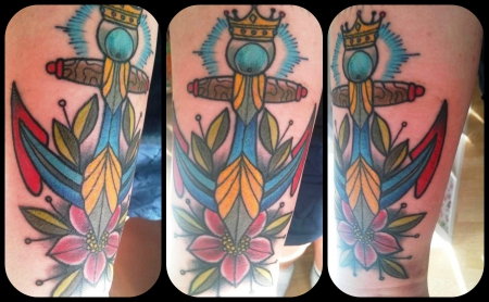 oldschool-Tattoo: Anker+Blume+Oldschool