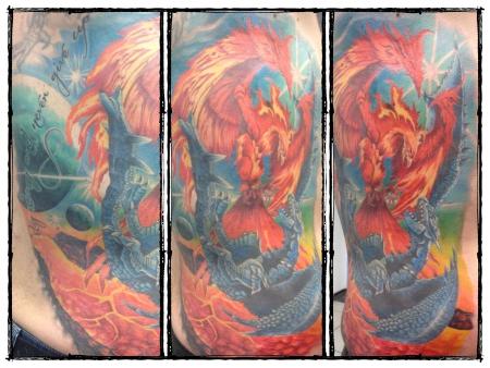 phoenix-Tattoo: Phoenix vs Dragon