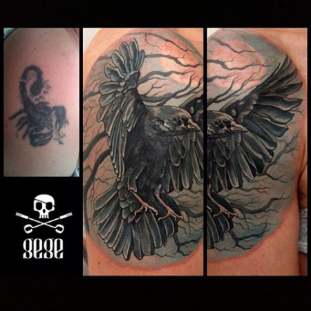 cover up-Tattoo: Rabe - Cover Up