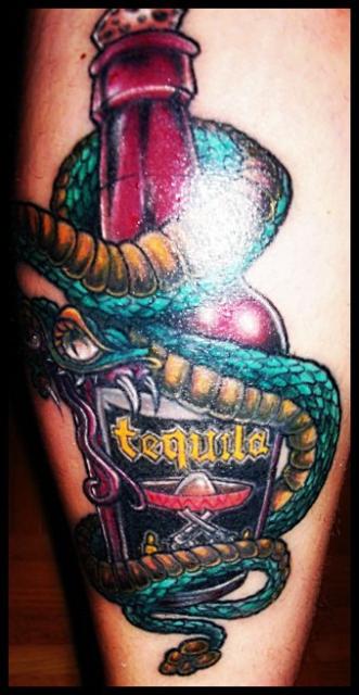 Tequila auf der Wade :-)