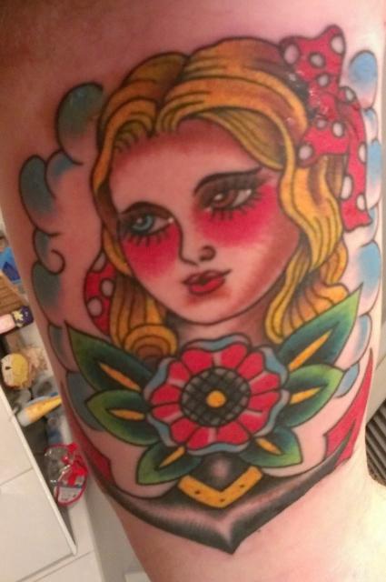 oldschool-Tattoo: Anker mit Frau