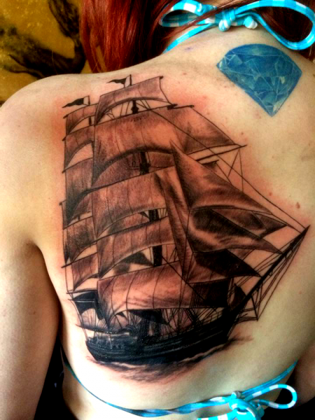 diamant-Tattoo: Ship