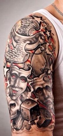 Schwarz/Weiß Oberarm Fantasy Tattoo