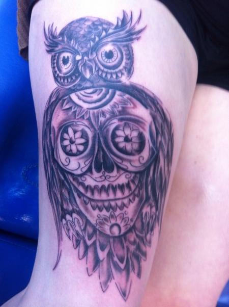 Papaya Eule Mit Schadel Mexikanisch Tattoos Von Tattoo Bewertung De