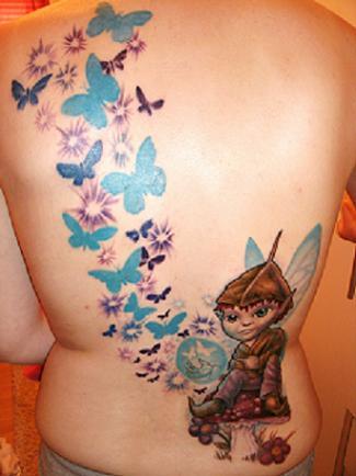 schmetterlinge-Tattoo: elf mit schmetterlinge