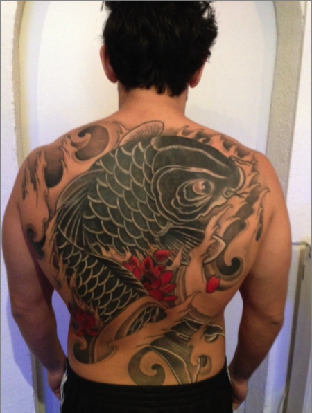 kirschblüten-Tattoo: Koi cover up