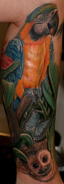 Papagei und äffchen, 6 Stunden Arbeit