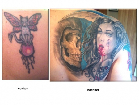 Cover-Up: Ein Fantasy-Hund wird zum Skull / Woman-Motiv