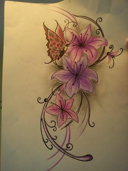 Blumen-Tattoo: Klappe die 2te...... nu schmetti anders... farbe bitte ignorieren.
