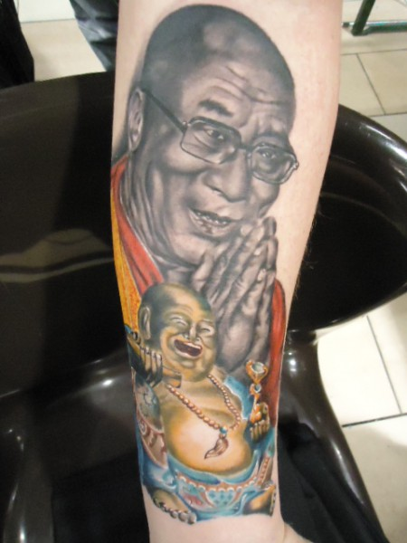 Portrait Dalai Lama + Happy Buddha