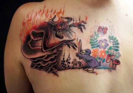 dämon-Tattoo: Dämon und Ente...