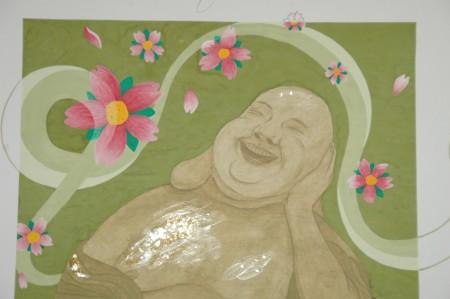 Lachender Buddha aus der Nähe