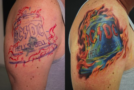 flammen-Tattoo: AC-DC