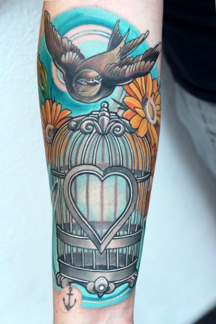 anker-Tattoo: VOGELKÄFIG