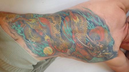 namen-Tattoo: Japanischer farbiger Drachen