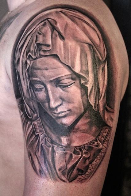 Maria von der statue Piéta, Electrographic tattoo Rosenheim